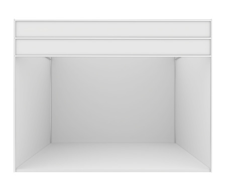 Stand de exposición en blanco. 3d render aislado en el fondo blanco. Foto de archivo - 44370682