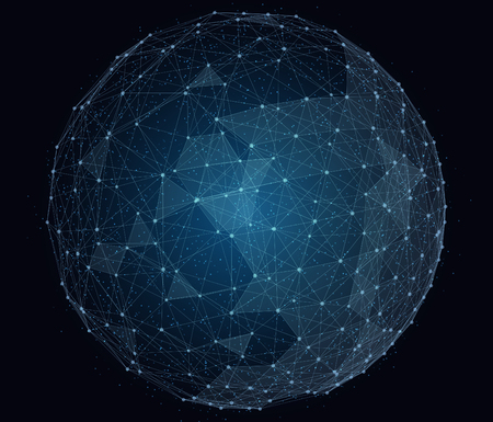 pelota: red global digital abstracto. ilustraci�n alambre marco de globo.