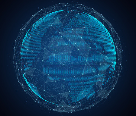 Digital design of a global network of Internet.