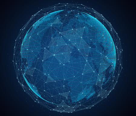 Digital-Entwurf von einem globalen Netzwerk von Internet. Standard-Bild