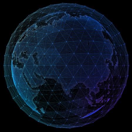 Digital planet telecommunications networks of global internet.