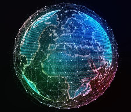 La red de Internet en todo el planeta. Ilustración digital. Foto de archivo - 44374734