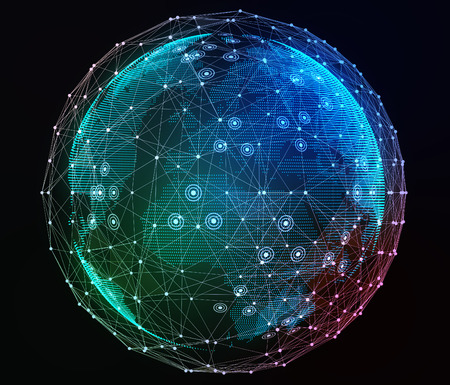 Internet síť kolem planety. Digitální ilustrace.