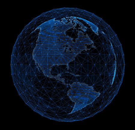 business network: Digital planet telecommunications networks of global internet.