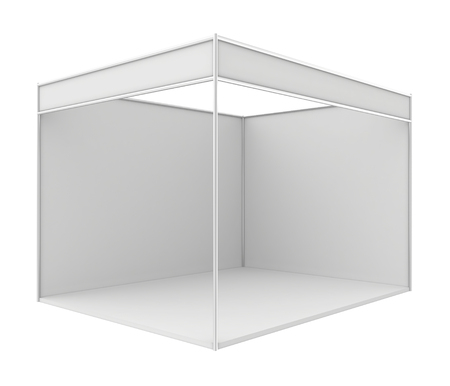 business exhibition: Blank trade exhibition stand. 3d render isolated on white .