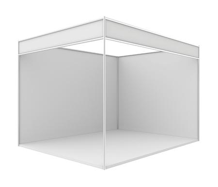 Blank vakbeurs staan. 3D render op wit wordt geïsoleerd.