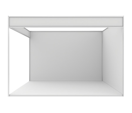 exhibitor: Blank exhibition stand. 3d render isolated on white .