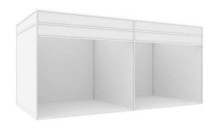 exhibidor: Stand de exposici�n en blanco. 3d render aislado en el fondo blanco.