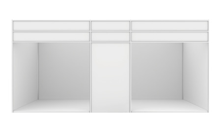 exhibitor: Blank trade exhibition stand. 3d render isolated on white background.