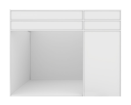 expositor: Stand de exposici�n en blanco. 3d render aislado en blanco.