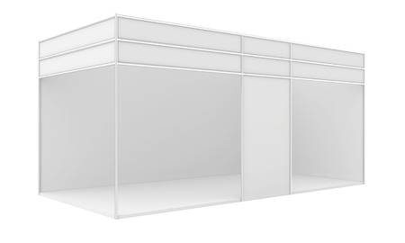 exhibitor: Blank trade exhibition stand. 3d render isolated on white .
