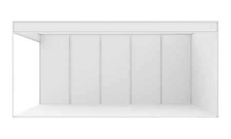 expositor: Stand de exposición en blanco. 3d render aislado en blanco.