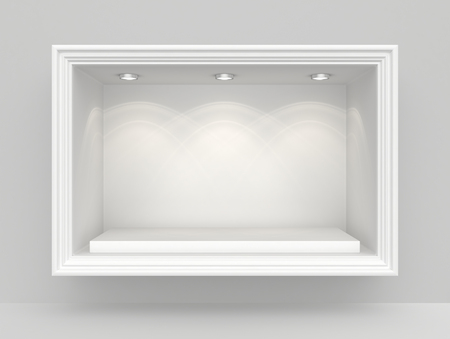 White wall with niche and empty pedestal for exhibition.