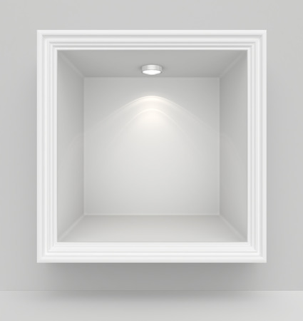 store display: Niche in the wall with light sources. 3d render
