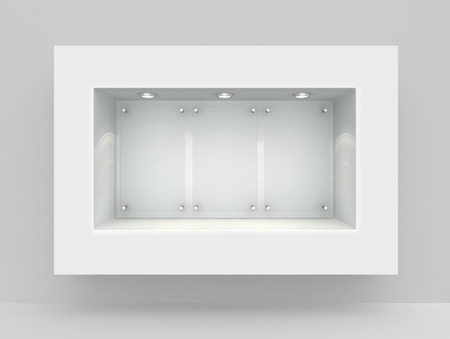 store front: Niche in the wall with light sources. 3d render