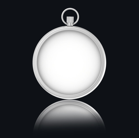 metering: Blank Stopwatch on black background with reflection. Stock Photo