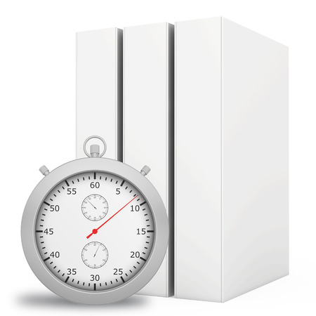 metering: Office blank folder with stopwatch in front. White background. Stock Photo