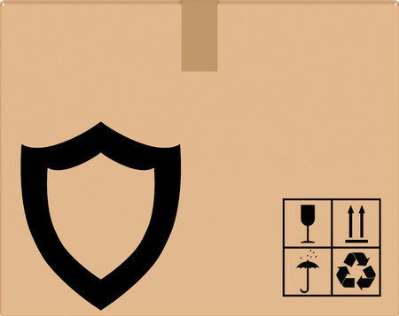 reliably: background cardboard box with shield icon. Shipping packing