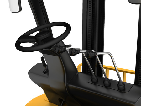 forklift driver: Cabin forklift truck with levers and steering wheel control. Stock Photo