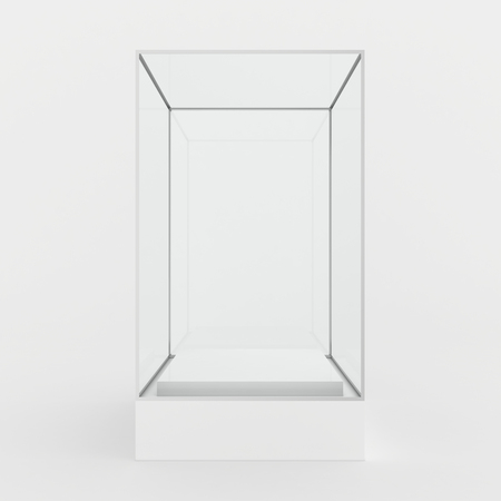 showcase: Glass showcase in center of podium. Gray background