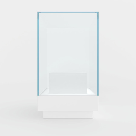 light interior: 3d Empty glass showcase for exhibit. gray background. Stock Photo