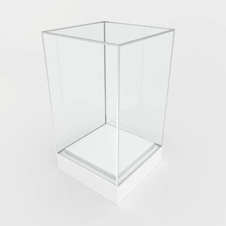 showcase: 3d Empty glass showcase for exhibit. gray background. Stock Photo