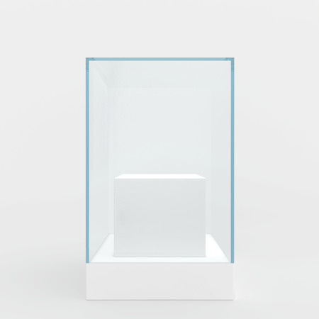 empty space: Glass showcase in center of podium. Gray background