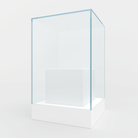 boutique display: Glass showcase in center of podium. Gray background