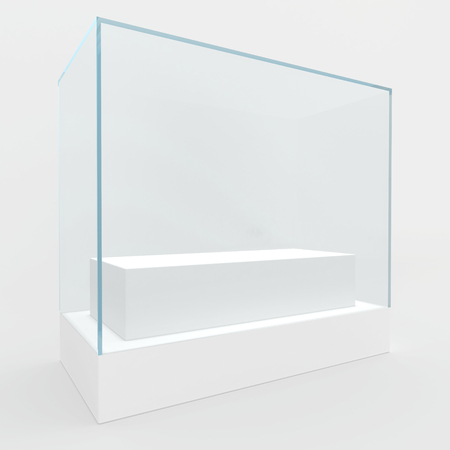 boutique display: 3d Empty glass showcase for exhibit. gray background. Stock Photo