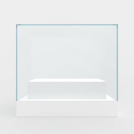 interior decoration: Glass showcase in center of podium. Gray background
