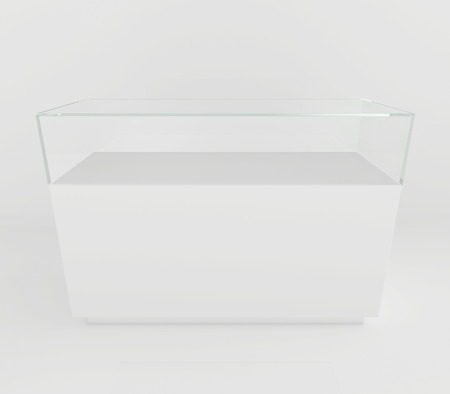 boutique display: Glass Showcases. 3d render on a gray background