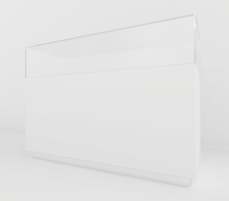 shop show window: Glass Showcases. 3d render on a gray background.