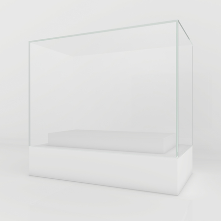 boutique display: Glass Showcases. 3d render on a gray background.