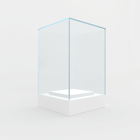 boutique display: 3d Empty glass showcase for exhibit. gray background