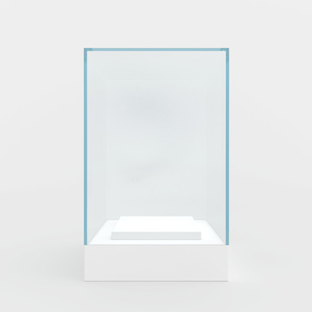 display: 3d Empty glass showcase for exhibit. gray background