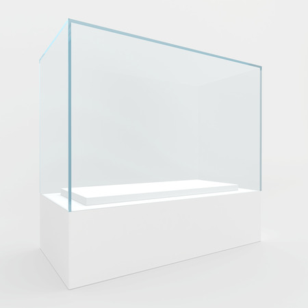 shop show window: 3d Empty glass showcase for exhibit. gray background