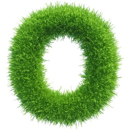 grass isolated: Vector small grass letter o on white background. Illustration