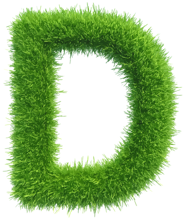 grass isolated: Vector capital letter D from grass on white background.