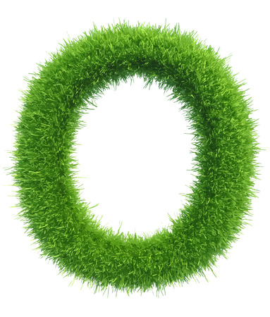 Vector capital letter O from grass on white background. Çizim
