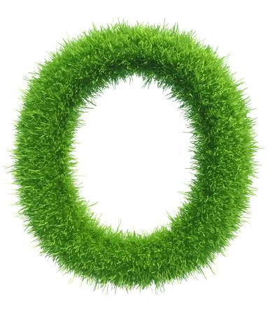 Vector letra mayúscula O de la hierba en el fondo blanco. Foto de archivo - 46273007