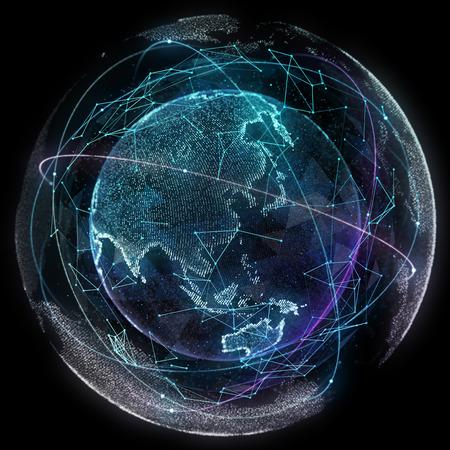 Resumen mapa de la red de telecomunicaciones global. Foto de archivo - 46406933