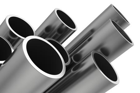 fontaneria: Tubos de acero en un fondo blanco. Ilustración 3D.