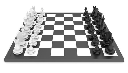 chess pieces: Chess pieces standing on black white chessboard. Stock Photo