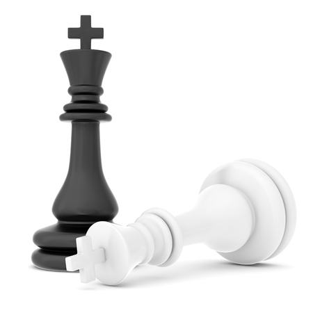 The fallen chess piece lying on a white background. Banco de Imagens - 46407393
