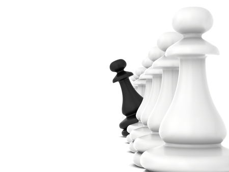 turns: Black chess piece turns looking out white pawns. Stock Photo