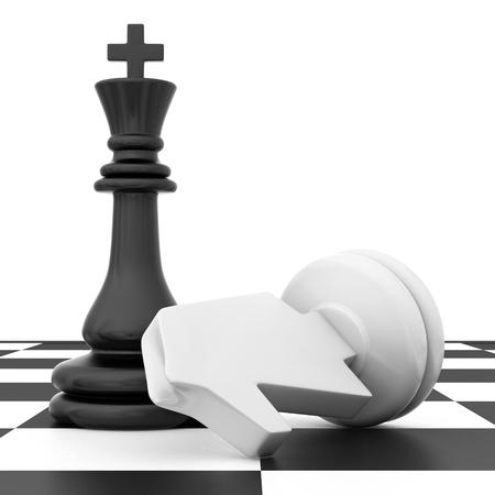 The fallen knight chess piece lying on chessboard.