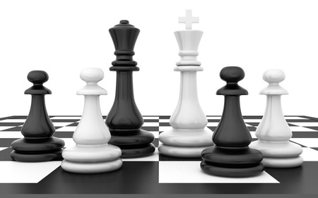 chessboard: Chessmen stand on a chessboard on a white background.