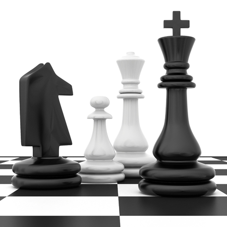 chessmen: Chessmen stand on a chessboard on a white background.