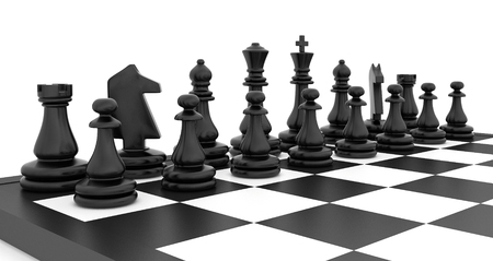 chess set: Chess pieces standing on black white chessboard. Stock Photo