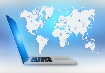 education: World map with the locations of cities on a laptop. Stock Photo